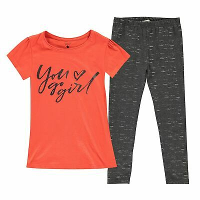 Kids Girls Crafted T Shirt And Leggings Set Junior Clothing Short Sleeve New