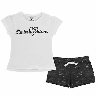 Kids Girls Crafted Junior T Shirt and Shorts Set Clothing Short Sleeve New