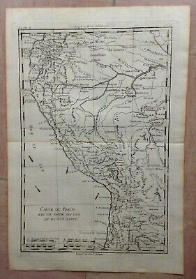 Peru 1780 By Rigobert Bonne Antique Copper Engraved Map 18Th Century