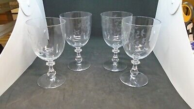 "4x Elegant Engraved Glass 5.25"" Inch Wine Glass Stem Cornflower You Get Four!"