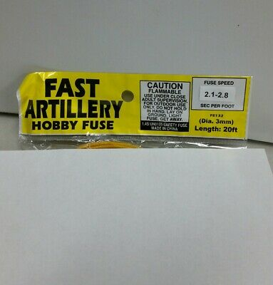 20' Fireworks Fast Artillery Hobby Fuse Label 3mm Yellow 2.1-2.8 Sec Per Foot