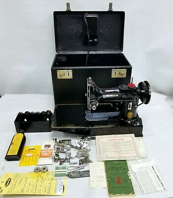 Vtg Rare 1954 Singer Featherweight Free Arm 222K Sewing Machine Case Serviced
