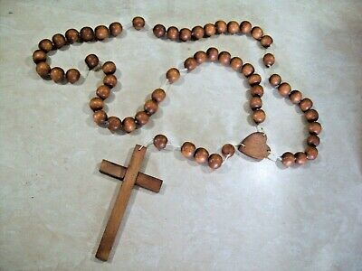 Blessed Catholic Wooden Rosary Cross Beaded Necklace Made in Phillipines