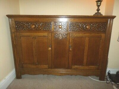 Large Antique Carved Oak Sideboard Cabinet Cupboards & Drawers Nr Croydon
