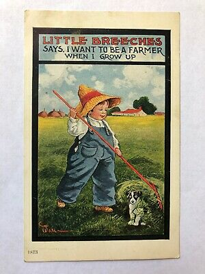 Antique Early 1900s Postcard Little Breeches Farmer Boy With Dog Artist Signed