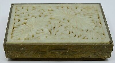 Vintage Chinese 1930's ornate brass & carved Jade card, cigarette trinket box