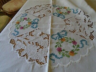 Vintage Irish Linen Tablecloth - Cut Work And Cross Stitch - Doves