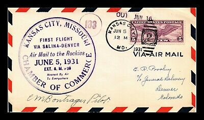 Dr Jim Stamps Us Kansas City First Flight Air Mail Cover 1931 Pilot Signed