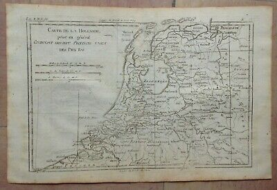 Holland 1780 By Rigobert Bonne Antique Copper Engraved Map 18Th Century