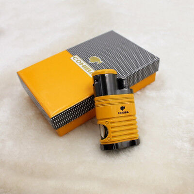 COHIBA Yellow  Metal 4 Torch Jet Flame Cigar Cigarette Lighter W/ Cigar Punch