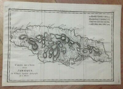 JAMAICA 1780 by RIGOBERT BONNE ANTIQUE COPPER ENGRAVED MAP 18TH CENTURY