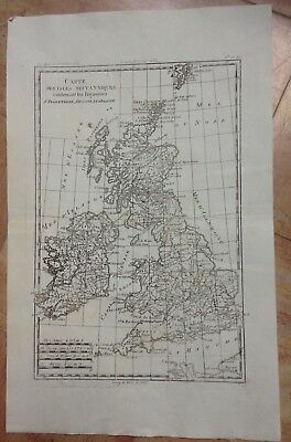 Great Britain Ireland 1780 By Rigobert Bonne Antique Engraved Map 18Th Century