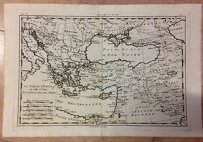 Turkey Black Sea Balkans 1780 Rigobert Bonne Antique Engraved Map 18Th Century