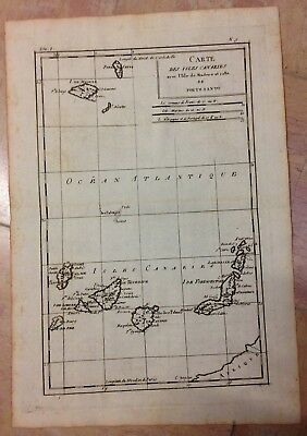 Canary Islands Madeira 1780 Rigobert Bonne Antique Engraved Map 18Th Century