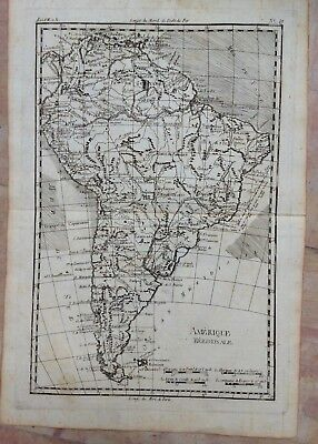 SOUTH AMERICA 1780 by RIGOBERT BONNE ANTIQUE COPPER ENGRAVED MAP