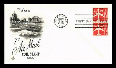 Dr Jim Stamps Us 7C Air Mail Coil First Day Cover Pair Atlantic City