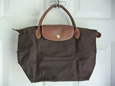3e4abd8aef Longchamp Le Pliage Tote Bag Brown $99 Made in France Small Short Handles