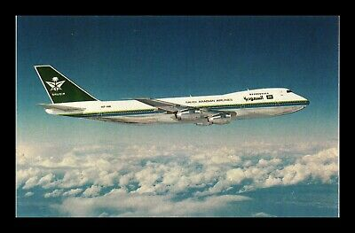 Dr Jim Stamps Saudi Arabian Airlines Boeing 747 168B Airplane Chrome Postcard