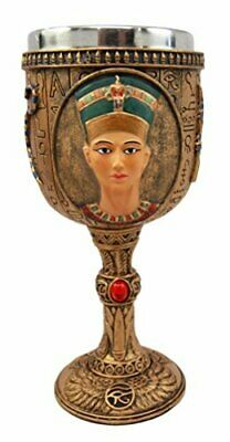Ebros Ancient Egyptian Wine Goblet in Golden Hieroglyphic Design (Nefertiti)