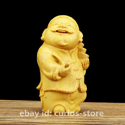 Chinese Box-wood Hand-carved Accountant's Office Gentleman Yuanbao Wealth Statue