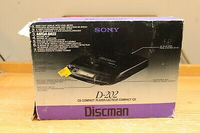 Sony Discman D-202 Compact Disc CD Player Mega Bass with Headphones & Packaging