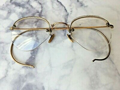 105ff61882df Vintage Antique Prescription Eyeglasses Pilot Gold Wire Rimless Bottom