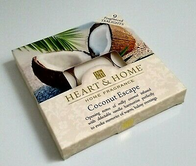 Heart and Home Coconut Escape Pack of 9 Tea Light Candles