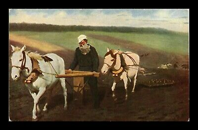 Dr Jim Stamps Horses Plowing Farming Tolstoi In Fields Art Postcard France