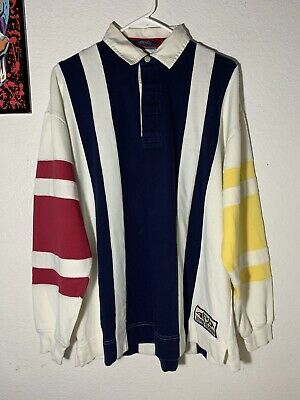 ef03e5b0232 Vintage Tommy Hilfiger Long-Sleeve Rugby Polo Shirt Size Medium/ Multicolor