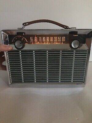 Vintage General Electric AM Radio Chrome Light Mid Century Works!