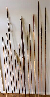 14 Piece Collection Papua New Guinea - Png Arrows & Black Palm Bow - Fly River