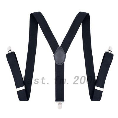 35mm Men Braces Suspenders Elastic Wide in Black Clip on Trousers Jeans