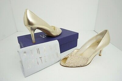 a61e2736a0e STUART WEITZMAN CHANTELLE Women's Bridal High Heel Gold Lace Pumps Size 9 N