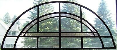 "Arched Stained Leaded Glass Window -29"" x 12 1/2"" -No Frame"