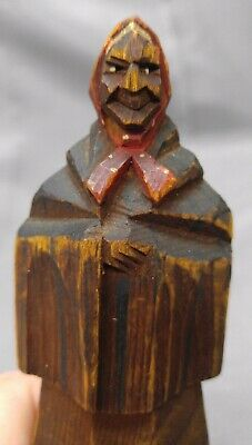 Antique Old Vintage Hand Carved Wooden Figure Woman Folk Art Wood Carving