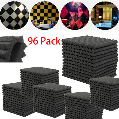 """96Pack 12"""" X 12"""" X 1"""" Acoustic Foam Panel Soundproofing Wedge Wall Studio Black"""