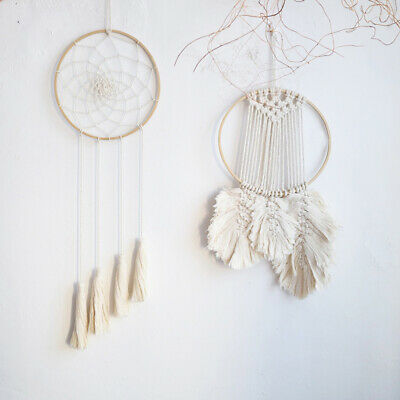 10pcs Bamboo Rings Wood Hand-made Round Dream Catcher Ring Hoop for Girl Female