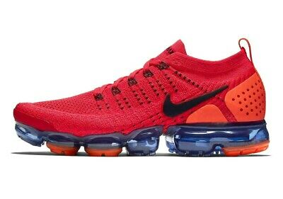 Nike Air Vapormax Flyknit 2 Red Orange Dark Blue Running AR5406-600 Size 10.5