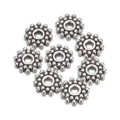 100 Tibetan Alloy Snowflake Metal Beads Bumpy Dotted Loose Spacers Silver 9x9mm