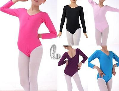 Au Stock Girl To Adults Cotton Dance Ballet Gymnastics Long Sleeve Leotard Da012