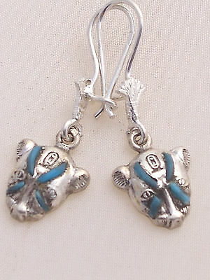 Sekhmet Silver Earrings (inlaid with Turquoise) (Hallmarked)