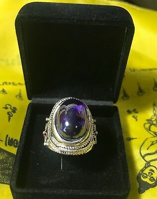THAI AMULET  Dragon Naga EYE Color  Bangle RING 7 CRYSTAL PURPLE POWERFUL DEVIL