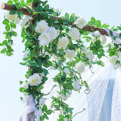 White 8Ft Artificial Rose Garland Silk Flower Vine Ivy Wedding Party Home Décor