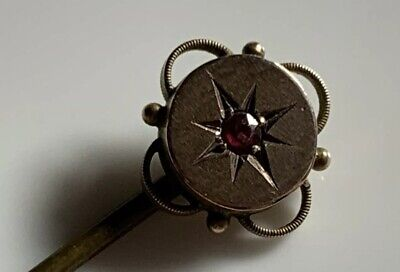 Victorian Hallmarked 9ct Gold With Old Cut Ruby Ornate Stick Pin