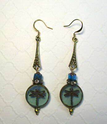 Handmade Dragonfly Embossed Rustic Czech Picasso Glass Bead Earrings, Free Ship!