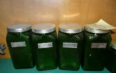 12-Piece-Owens-Illinois-Green-Ribbed-Glass-Hoosier- Canister-Set