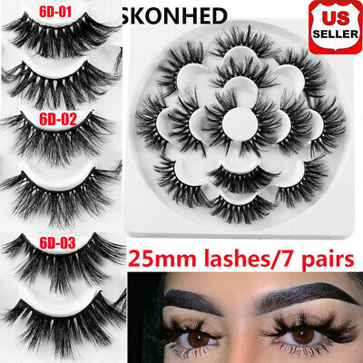 SKONHED 7 Pairs 6D Mink Hair False Eyelashes 25mm Lashes Thick Wispy Fluffy L-O