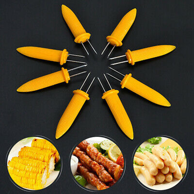 Stainless Steel Corn Holders Barbecue Tool Corn on The Cob Skewers for Outdoor