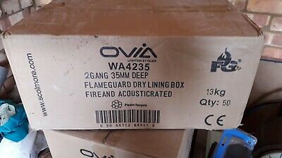 50 X Flameguard Backboxes 2 gang 35mm fire and acoustic rated
