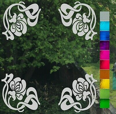Art Nouveau Corners Set of 4 Frost Etch or Stained Glass Effect Window Sticker